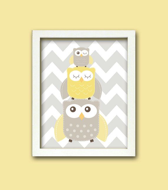 Nursery Art, Nursery Owl Art, Grey and Yellow Nursery, Owl Nursery, Choose your colors on Etsy, $15.00