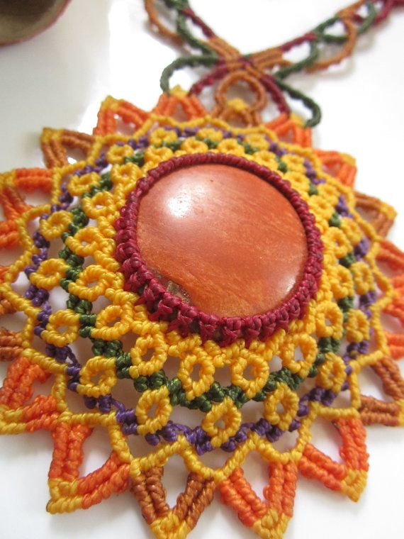 Orange Jasper Necklace Macrame Handmade with by PapachoCreations.