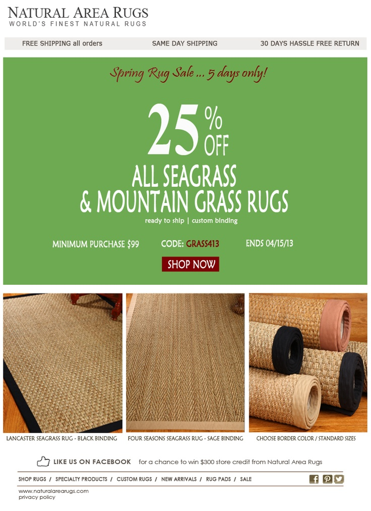 Get 25% Off All Seagrass U0026 Mt Grass Rugs. Coupon Code: Grass413