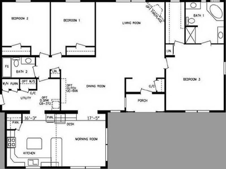 single wide trailer house plans Double Wide Mobile Home Floor