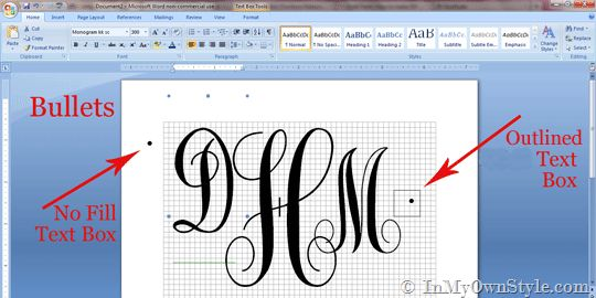 how to create a monogram using microsoft word