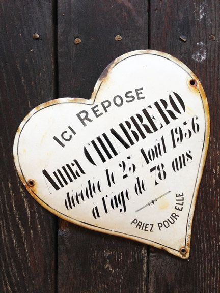 Vintage French Enamel Heart Memorial Plaque by OscarNaylor on Etsy, $155.50
