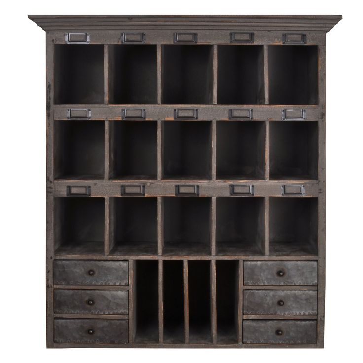 Distressed Wood Cabinet With Cubbies