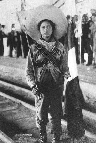 """Las Soldaderas - Heroines of the Mexican Revolution. One of whom was Petra Herrera (not this image) who became a well-known figure on the battlefield during the Mexican Revolution.  Under the pseudonym """"Pedro Herrera,"""" Petra disguised her gender in order to engage in combat alongside her male counterparts.  An aggressive fighter, Petra took on leadership roles and responsibilities in combat that distinguished her amongst her peers."""