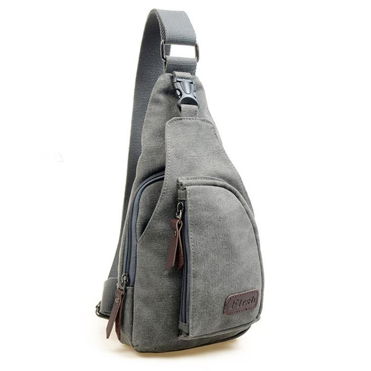 Tobey Canvas Messenger Sling Body Bag Backpack Sport Day Hiking Bag Gray