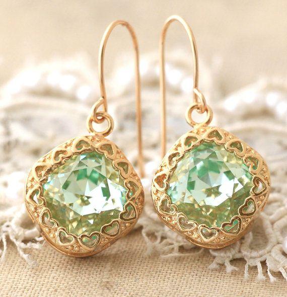 Mint Clear Dangle earrings Swarovski Mint Earring Swarovski 14k Gold Filled Earrings Mint Green Crown Earrings Gift for woman, Mint earrings