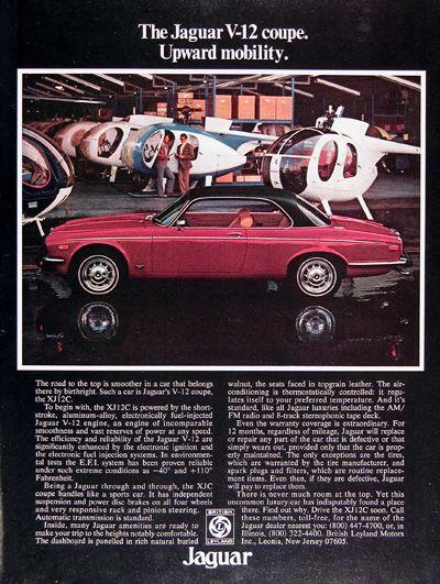 1976 Jaguar XJ12 Coupe original vintage advertisement. The XJ12 C is powered by…