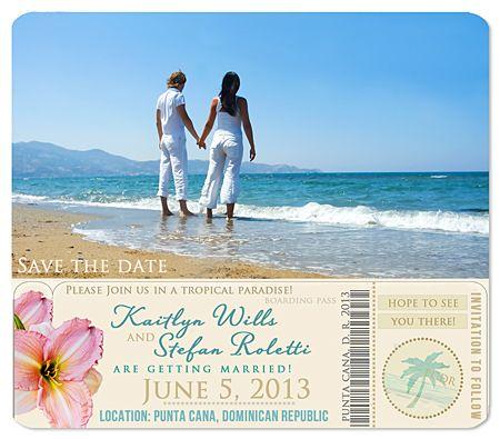 """Boarding Pass"" Destination Wedding Tropical Beach Photo Magnets"