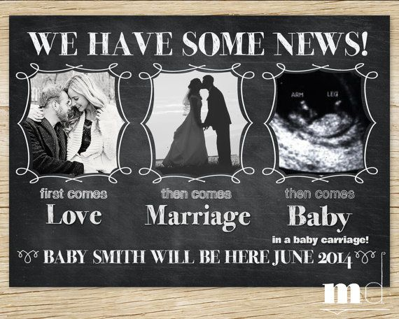 "Chalkboard Pregnancy Announcement - ""First Comes Love..."" - PRINTABLE - Baby Announcement - Ultrasound, Facebook Digital Print, Personalized"