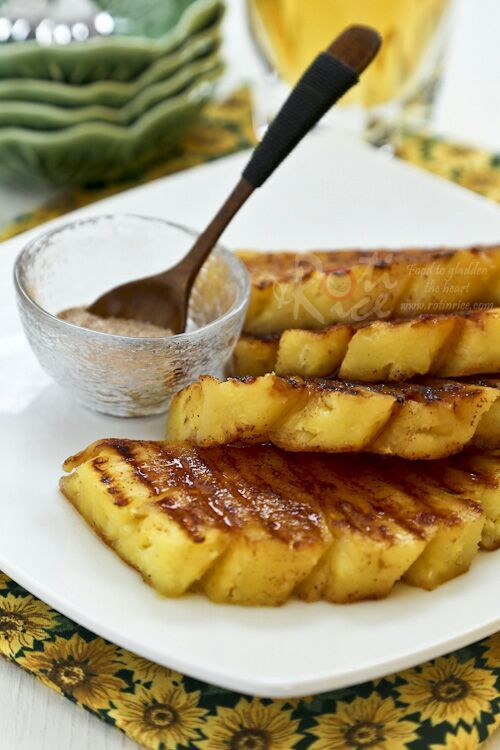 Simple and tasty Grilled Pineapple with cinnamon sugar, a delicious accompaniment to grilled and roasted meats. Also great as a snack or dessert.   Food to gladden the heart at RotiNRice.com #RotiNRice
