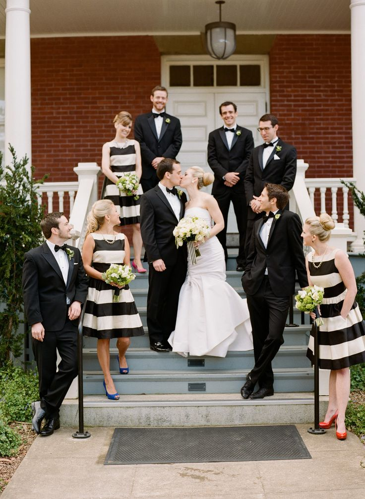 Black And White Striped Bridesmaid Dresses