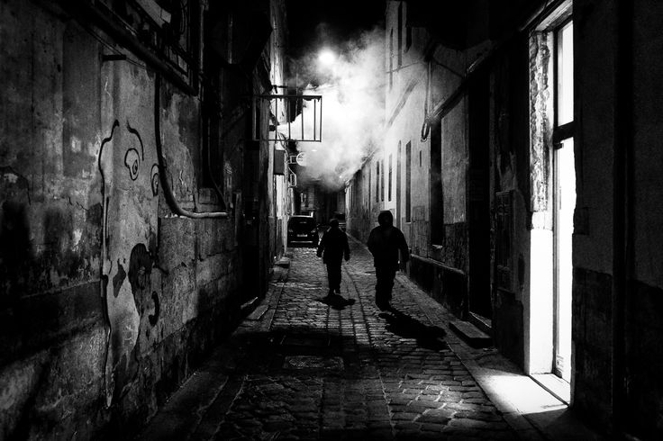 Strangers in the Dark III. Cluj-Napoca, Romania, 2015. Original, limited edition, signed, fine art print on Hahnemühle high quality paper. #streetphotographer #blackandwhite #street #photography #fineart #print #urban #monochrome #night #cluj #pierrepichot #night #graffiti #mood