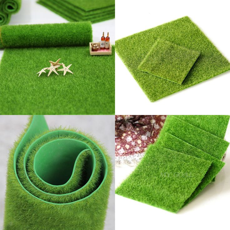 GBP $0.99 & FREE SHIPPING - Artificial Grass Fairy Garden Ornament Dollhouse Fake Lawn Miniature Craft Decor