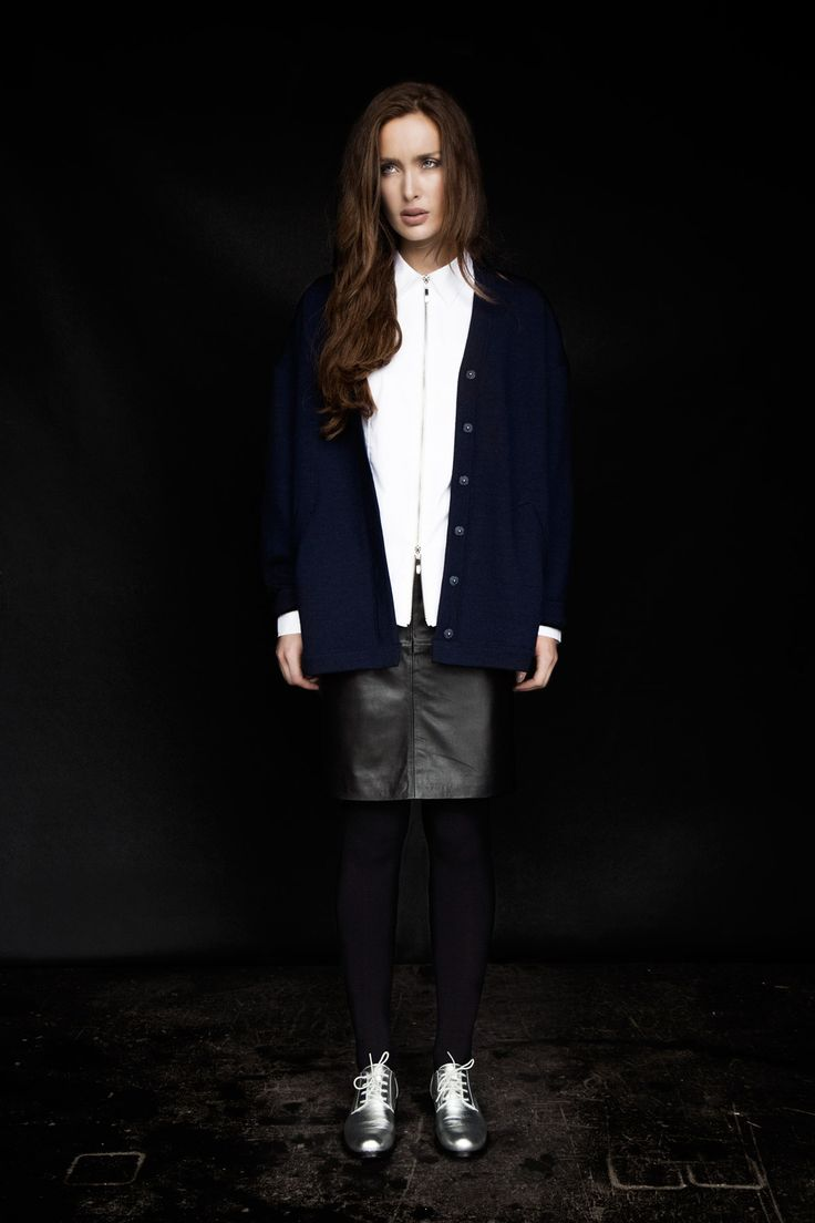 Carolyn Donnelly The Edit oversized cardigan, black leather skirt, zipped white shirt and silver brogues