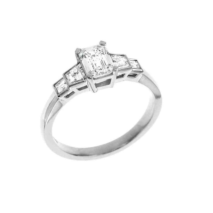l rings cut engagement ring diamond square emerald circa