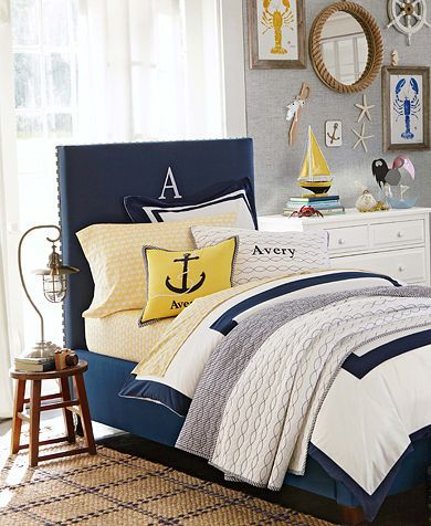 Totally LOVE everything about this bedding!!! Blue, white, yellow, anchors....