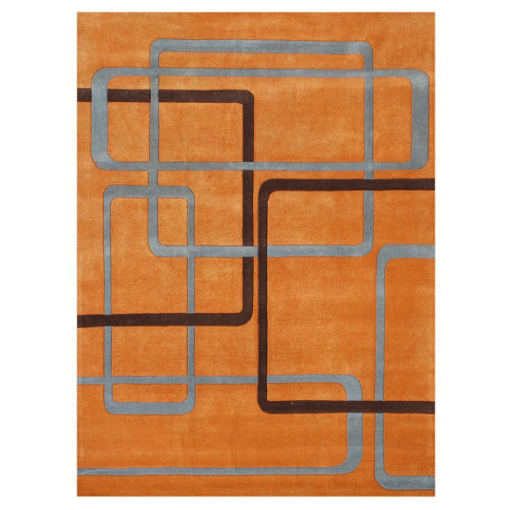 Handmade Orange Wool Rug 5u0027 x 8u0027