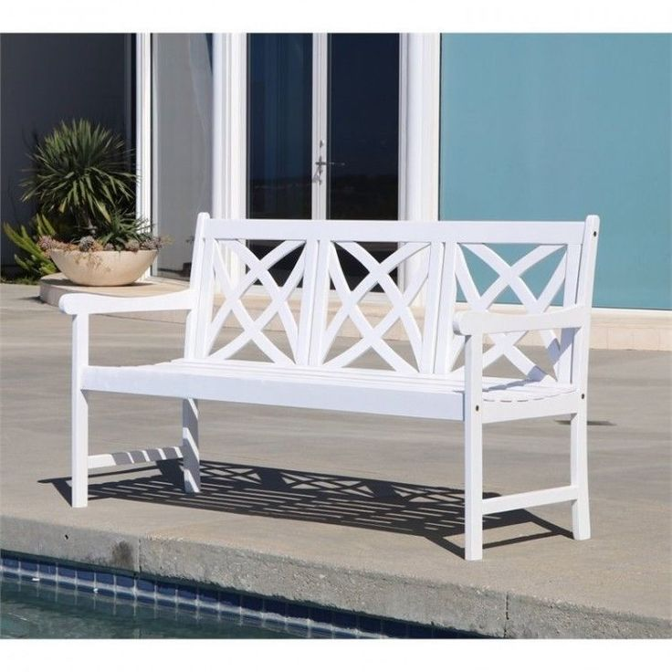 Outdoors Garden Bench 5 Foot White Wood Patio Furniture Porch Weather Resistant #White