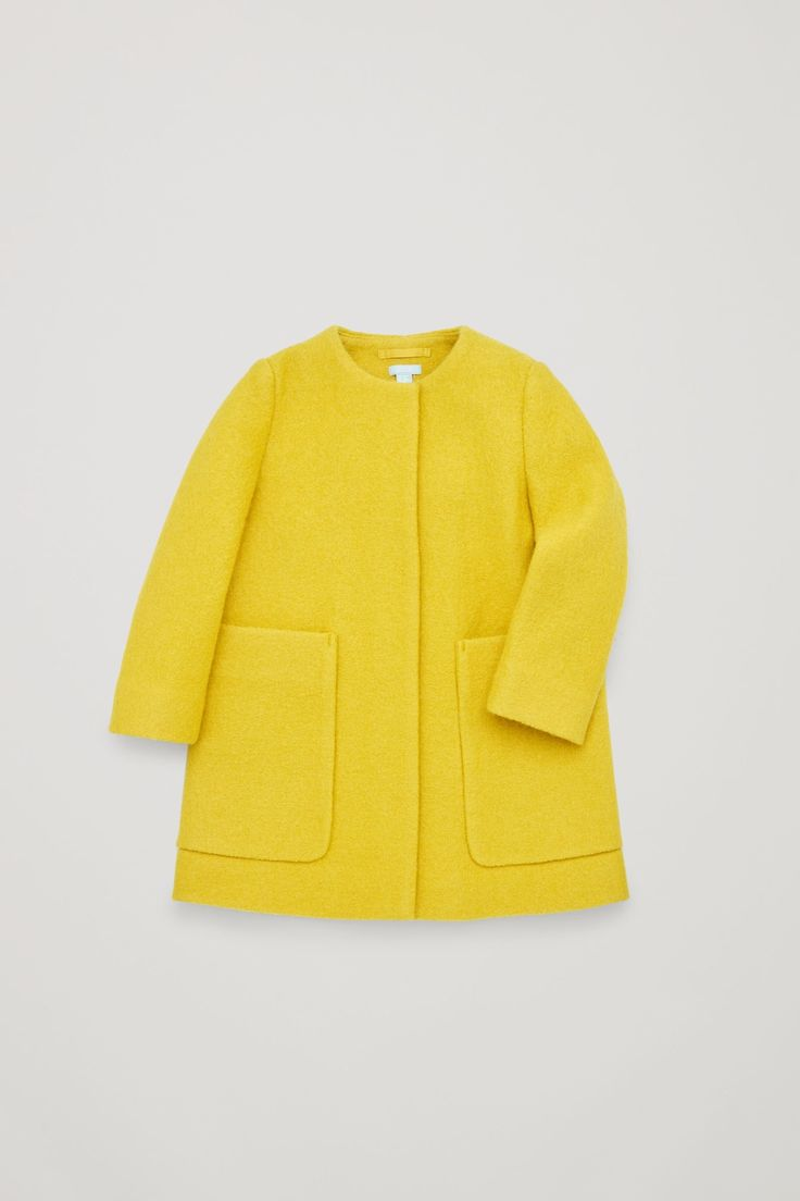 COS image 3 of Square-neck A-line coat in Yellow