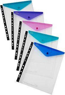 Snopake Polyfile 15695 Klarsichthüllen für Ringordner, A4, Klappe mit Druckknopfverschluss, Electra-Farben, 5Stück