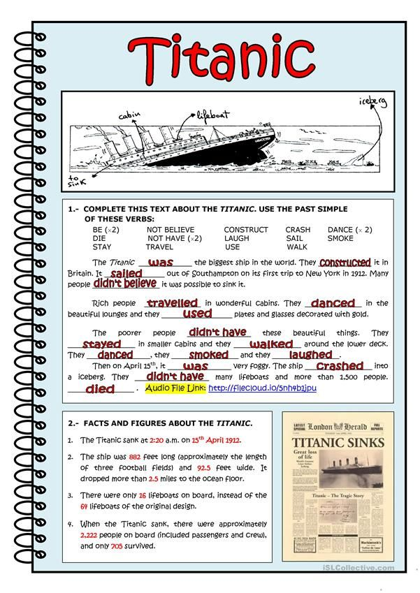 Titanic Worksheet Free Esl Printable Worksheets Made By Teachers Reading Comprehension Worksheets Titanic Learn Facts