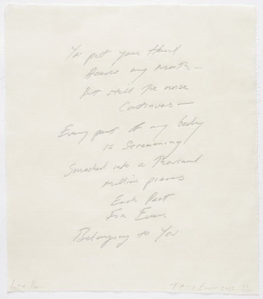 Tracey Emin Love Poem (2013) Edition of 100 Embroidered cotton