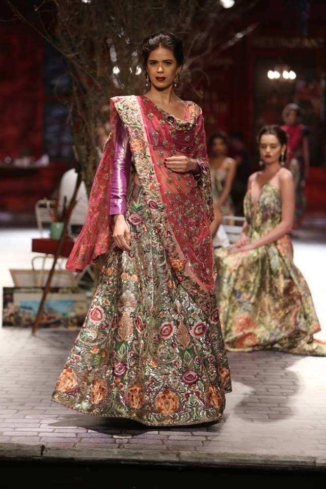 Monisha Jaising at India Couture Week 2014 - multi-colored bridal lehnga with purple blouse