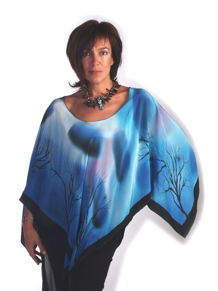 Sky - Hand painted silk poncho by Natasha Foucault, represented by Human Arts Gallery in Ojai, CA.