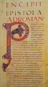 This leaf features Carolingian minuscules, capital and half-uncial script. Not to mention the initial decoration. Re-utilization rights not stated.
