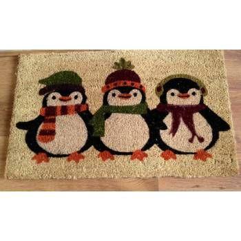 Three Winter Penguins Door Mat