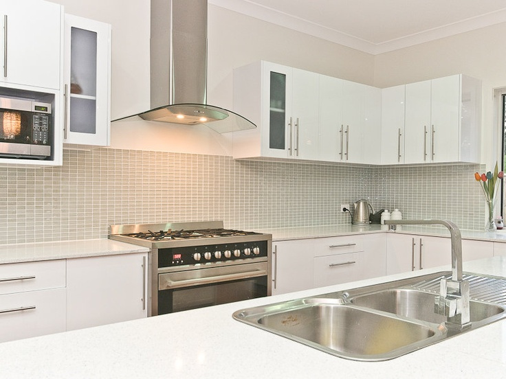 White Kitchen And Funky Tiled Splashback Kitchen Ideas