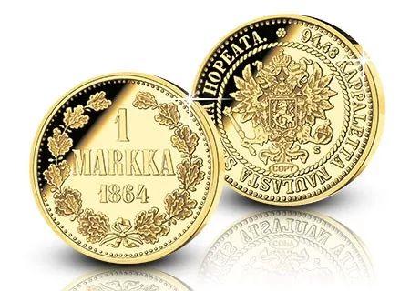 Suomen ensimmäinen metallimarkka kullattuna muistolyöntinä vain 9,90 euroa! #markka
