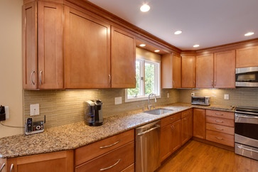 Toffee Cabinets With Milano Quartz Countertop Contemporary Kitchen Remodel Kitchen Remodel