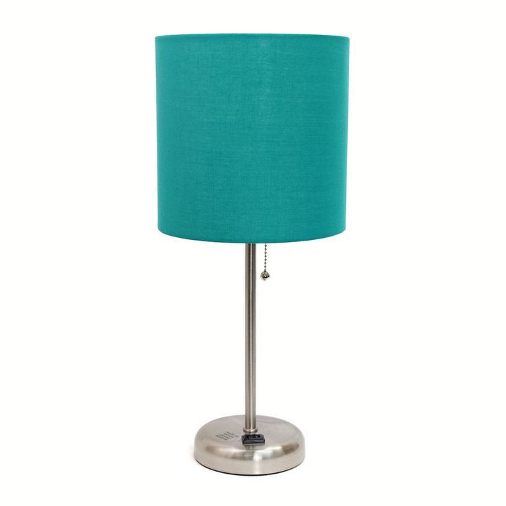 Limelights 19.5 in. Stick Lamp with Charging Outlet and Teal Fabric Shade