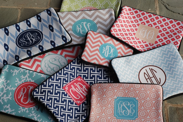 Laptop Sleeve Small Monogrammed or Personalized. $24.00, via Etsy.
