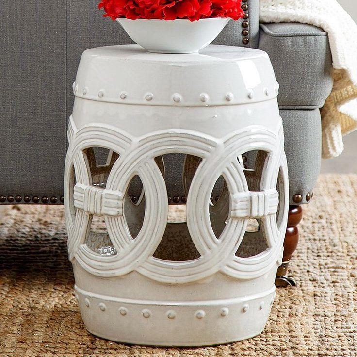 Outdoor Abbyson Living Yasmine Ceramic Garden Stool White - GT-N52701-WHT