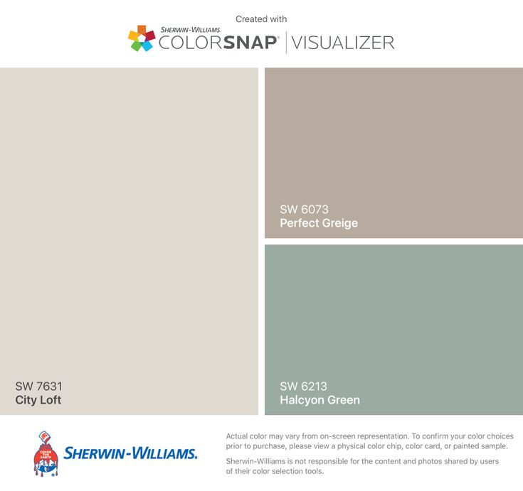 I found these colors with ColorSnap® Visualizer for iPhone by Sherwin-Williams: City Loft (SW 7631), Perfect Greige (SW 6073), Halcyon Green (SW 6213).