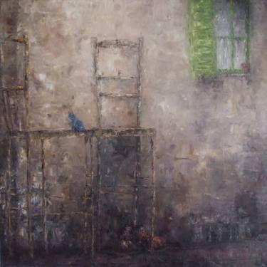 "Saatchi Art Artist Nicole Pfund; Painting, ""chair and bird"" #art"