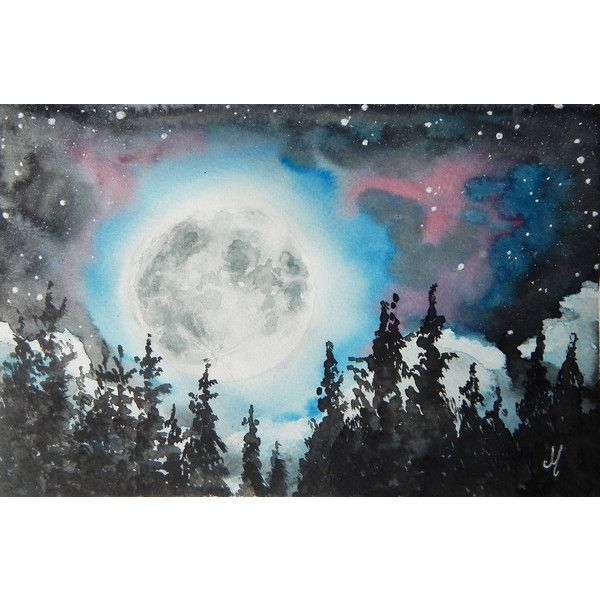 Full Moon Landscape Night Sky Painting Astronomy Art Watercolor 78 Via Polyvore Featuring Home Home Decor Moon Painting Astronomy Art Night Sky Painting