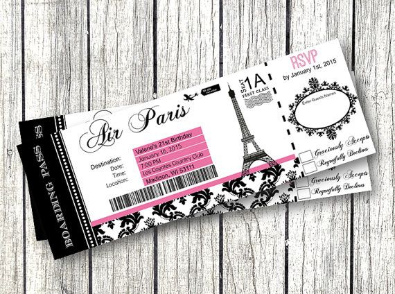 Paris Boarding Pass Invitation with pink and black damask ...
