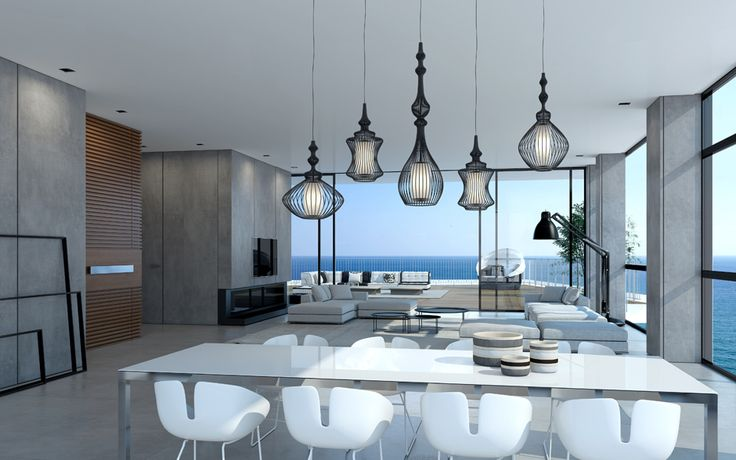 Now, we'll jet off to Tel Aviv where traditional elements blend with modern aesthetics. In this penthouse, you'll see smooth concrete and plenty of windows (oh, yes, more windows to die for), but the layout and feel is so much more airy and light. A touch of wood there. A speckle of metal there. Over the table hangs a series of  lanterns: a calling to the cultural history of Tel Aviv.