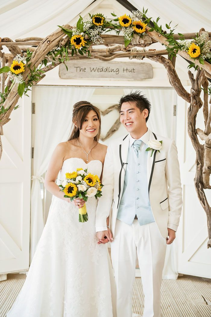 beach wedding south west uk%0A White Roses and Sunflowers at a Bournemouth Beach Wedding  KingChung Chong  and Wing Na Eva Chan