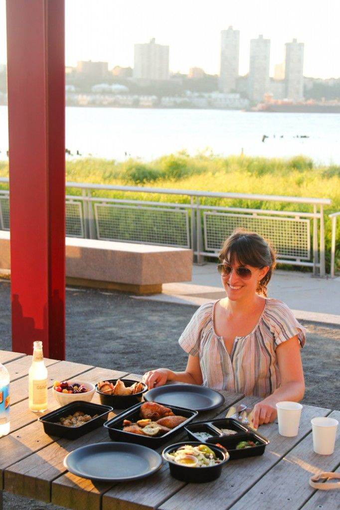 Some of the best waterside dining in Manhattan is to be found at a park. Have a (take-out) picnic on the Hudson River greenway.