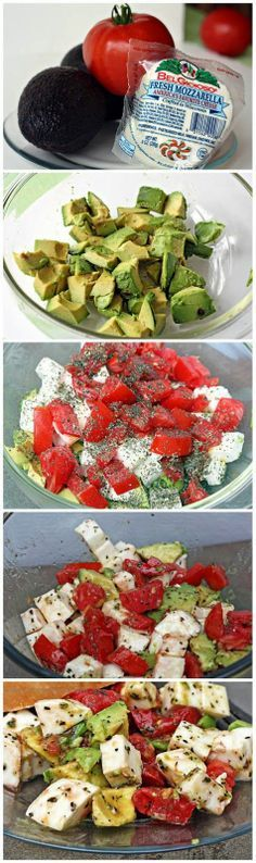 Avocado Tomato Mozzarella Salad: 2 avocados, sliced 2 ripe tomatoes 1 pound mozzarella 1 1/2 ounce bunch fresh basil leaves 1/4 cup olive oil 1/4 cup balsamic vinegar salt and pepper to taste