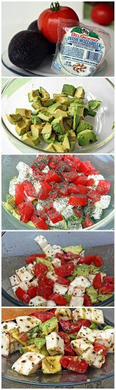 Avocado  Tomato Mozzarella Salad.Yummm...