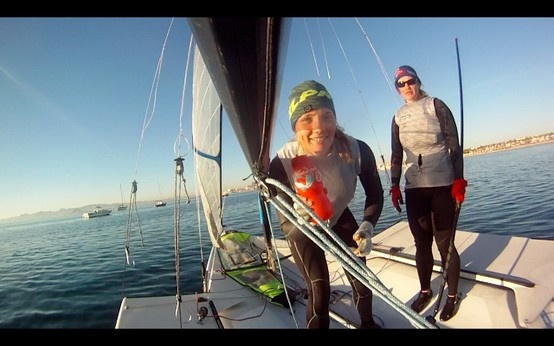 Sophie Ainsworth, part of the British Sailing Team is looking for Gold in Rio. Seen here on the high seas donning her unique 'red' Water-to-Go bottle...