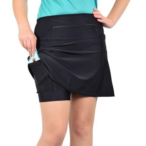 "Need the perfect black athletic skirt for golf, tennis, or travel? CasualFit is slightly more flared at the bottom than SlimCut but not as full as SwingStyle; a perfect hybrid skirt. The black wicking undershorts in this 2.1 Design skirt have two 6x6"" pockets, plus they're reversible so you can wear the 12"" zippered waistband in the front or back. The standard black Spandex shorts are guaranteed not to ride up, which means you'll stay comfortable and cool no matter where your journey takes…"