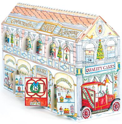 Christmas Bakery and Tea Shop Advent Calendar - look behind the windows to see family and friends as they meet for cinnamon buns and hot chocolate, and bring the festive season to life