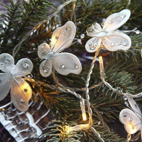 Sommerfugl Batteridrevet LED Lysslynge 16 Lys Hvit