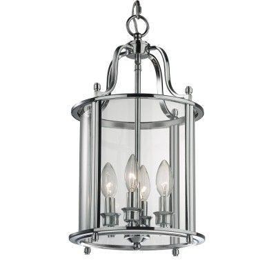 Lampa wisząca NEW YORK P04550CH  Jest odpowiedzią na zapotrzebowanie miłośników klasycznej wersji stylu nowojorskiego, którzy nie zbyt komfortowo odnajdują się w minimalistycznej nowoczesności.  Klimat New York Classic Style narzuca dobór nieco bardziej wyrafinowanych dodatków, stąd też  dekoracyjna forma oprawy, chrom, szkło i widoczne źródła światła, wyglądające niczym świeczniki zamknięte w latarni będą pasowały do tego nurtu idealnie.